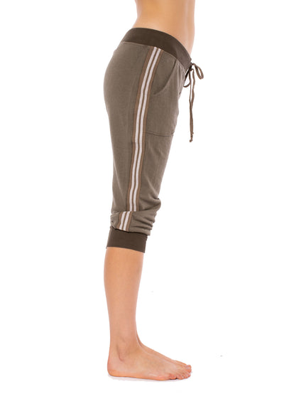 Hard Tail Forever - Fleece Capri Jogger W/Racer Stripe (CLO-16, Thyme) alt view 2