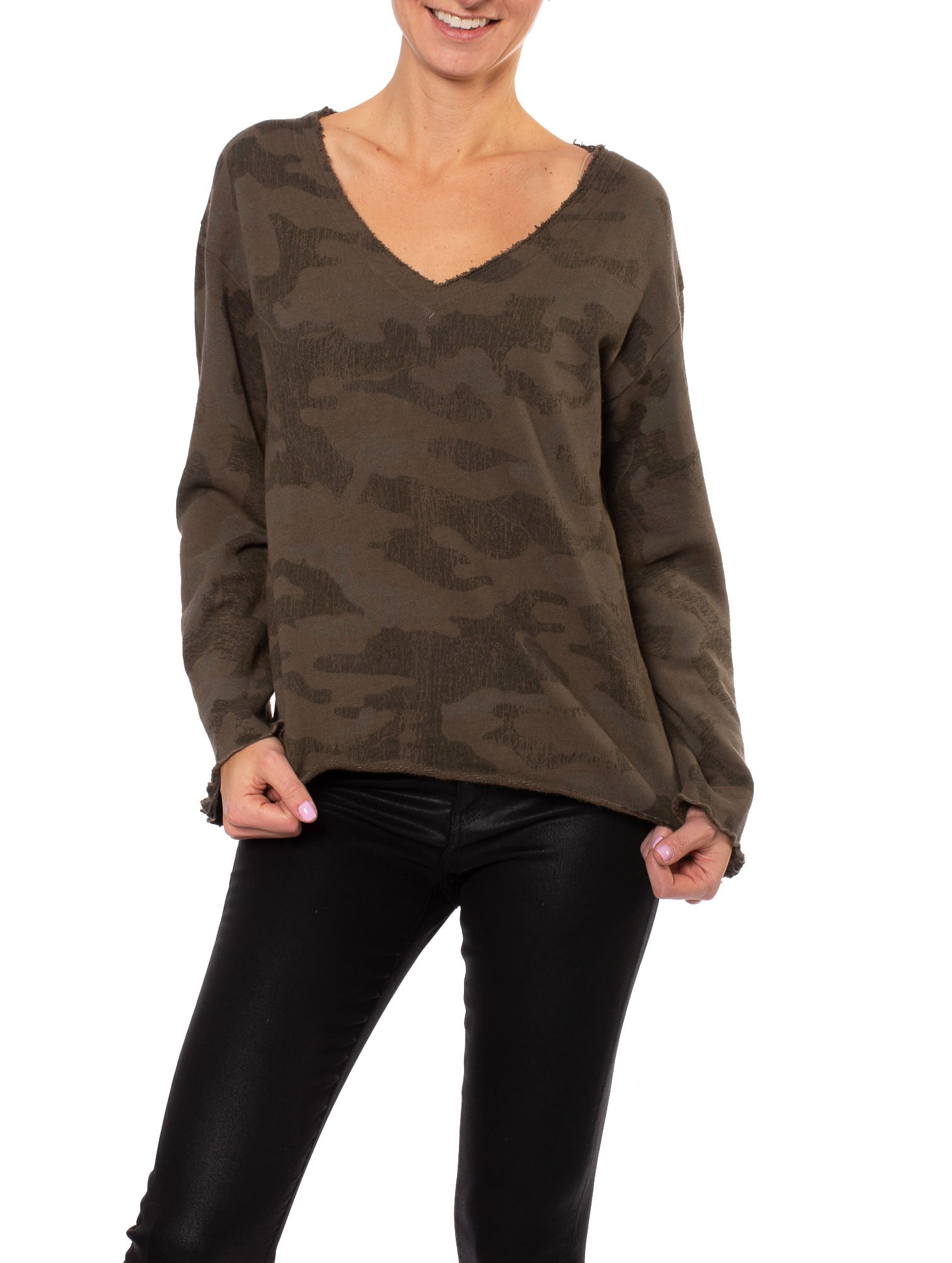 Heavy French Terry Flare Sleeve Pullover (Style HSFT-01, Camo Thyme) by Hard Tail Forever