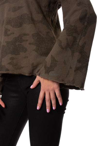 Heavy French Terry Flare Sleeve Pullover (Style HSFT-01, Camo Thyme) by Hard Tail Forever alt view 3