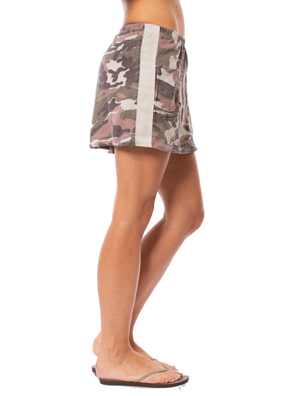 Hard Tail Forever - Camo Two Pocket Elastic Waist Skirt (BURG-02, Blush Camo) alt view 1