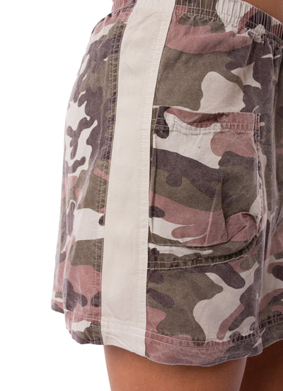 Hard Tail Forever - Camo Two Pocket Elastic Waist Skirt (BURG-02, Blush Camo) alt view 3