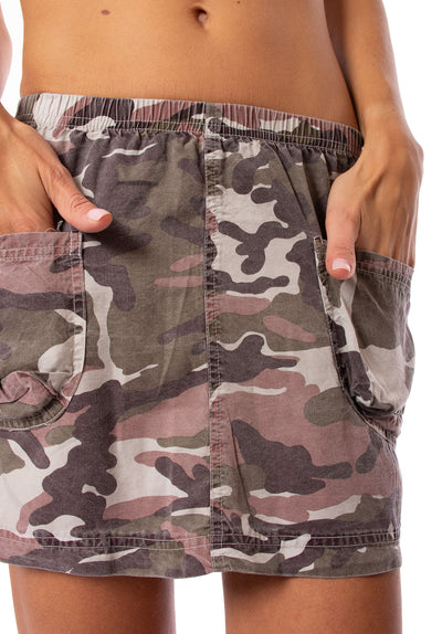 Hard Tail Forever - Camo Two Pocket Elastic Waist Skirt (BURG-02, Blush Camo) alt view 4