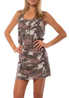 Hard Tail Forever - Camo Fatigue Elastic Waist Button Dress (BURG-05, Blush Camo)