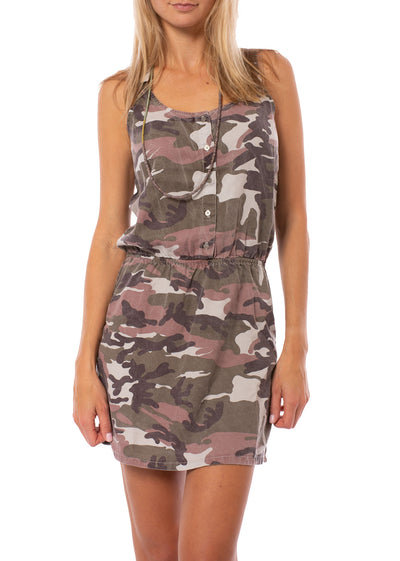 Hard Tail Forever - Camo Fatigue Elastic Waist Button Dress (BURG-05, Blush Camo) alt view 1