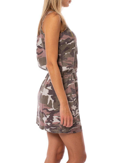 Hard Tail Forever - Camo Fatigue Elastic Waist Button Dress (BURG-05, Blush Camo) alt view 2