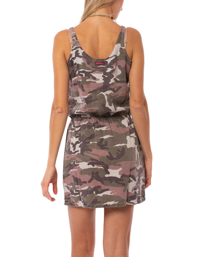 Hard Tail Forever - Camo Fatigue Elastic Waist Button Dress (BURG-05, Blush Camo) alt view 3