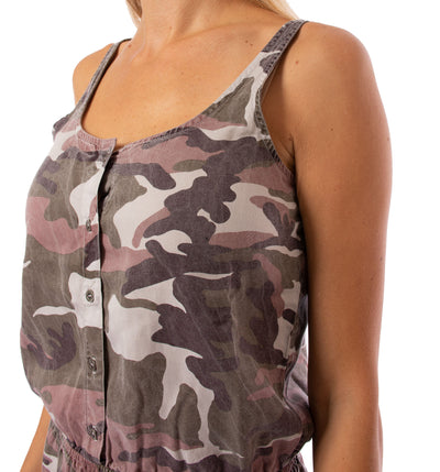 Hard Tail Forever - Camo Fatigue Elastic Waist Button Dress (BURG-05, Blush Camo) alt view 4