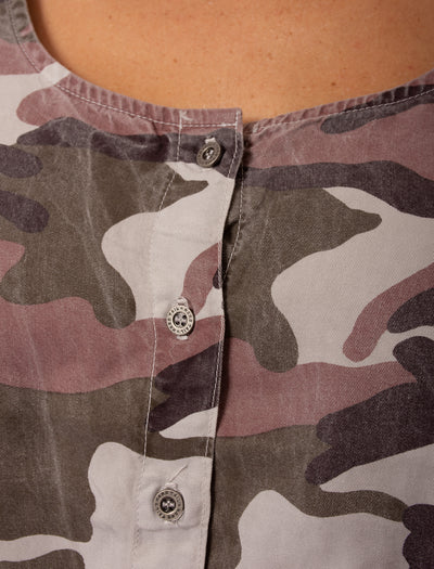 Hard Tail Forever - Camo Fatigue Elastic Waist Button Dress (BURG-05, Blush Camo) alt view 5