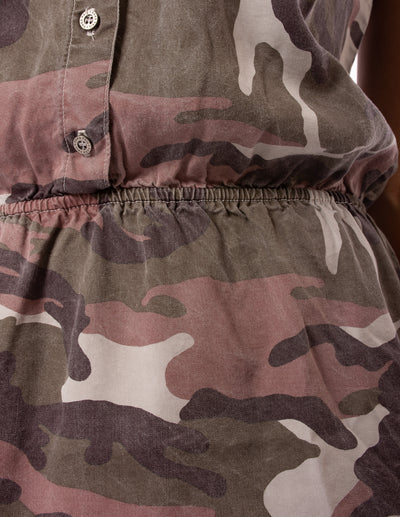Hard Tail Forever - Camo Fatigue Elastic Waist Button Dress (BURG-05, Blush Camo) alt view 6