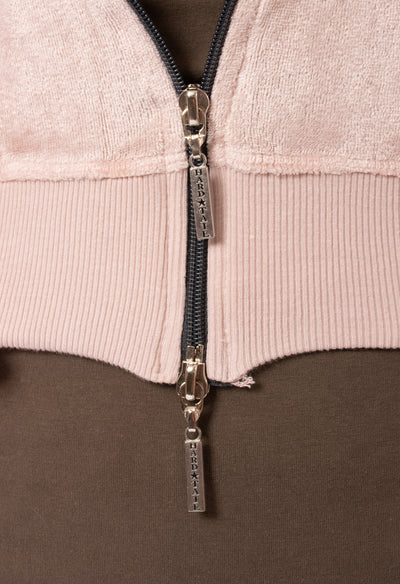 Hard Tail Forever - Velour Flair Sleeve Zip Hoodie (PANE-35, Rose) alt view 4
