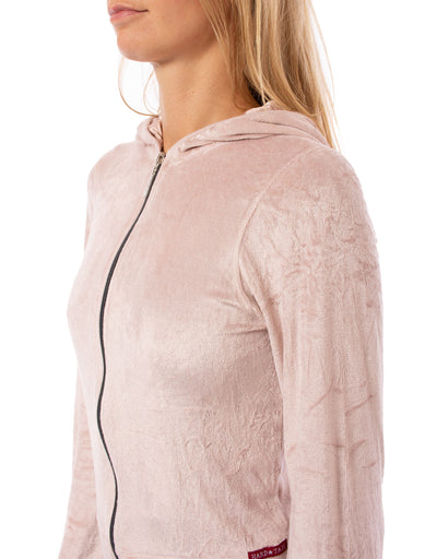 Hard Tail Forever - Velour Flair Sleeve Zip Hoodie (PANE-35, Rose) alt view 5