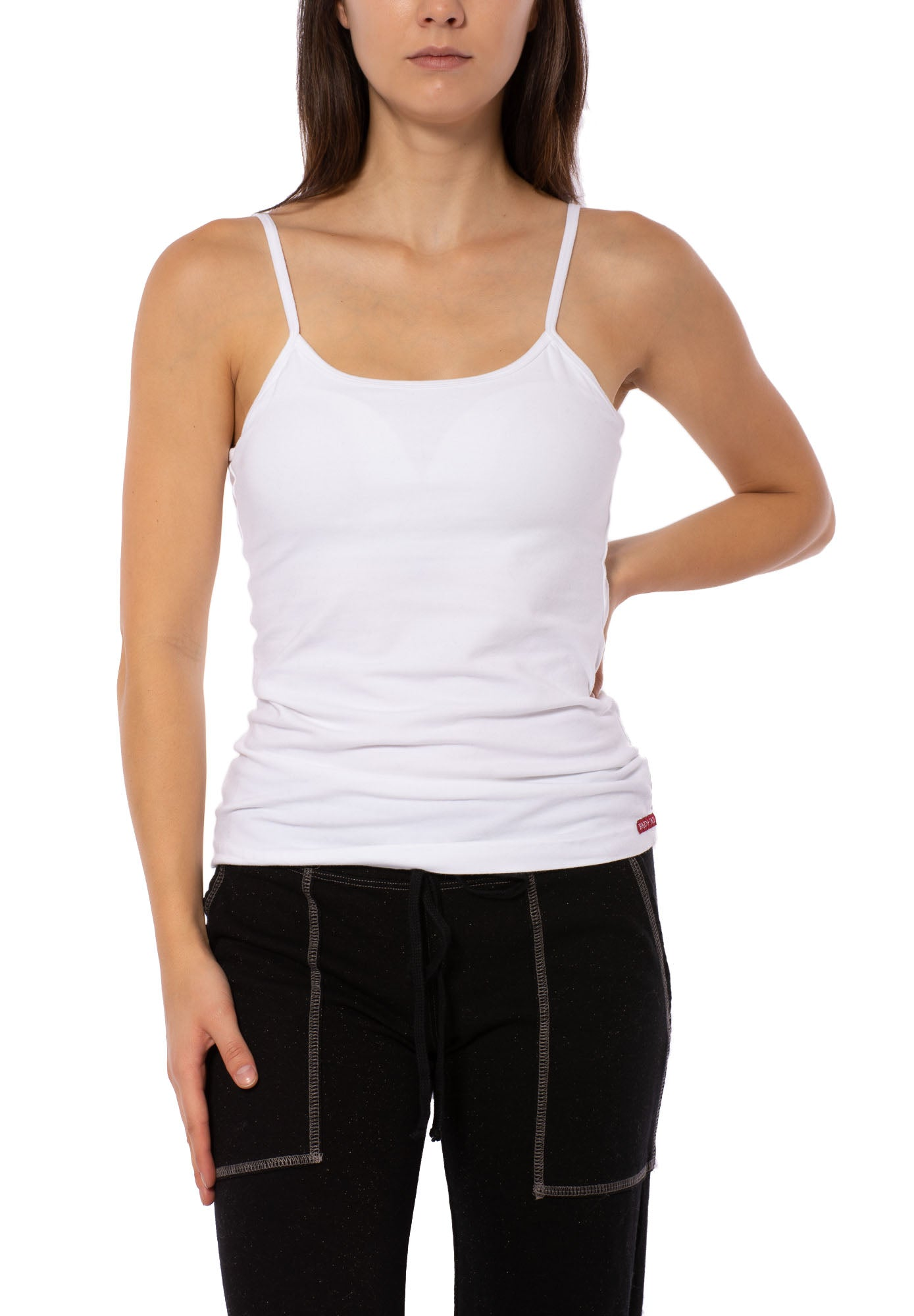 Hard Tail Forever - Strappy Low Back Tank W/Removable Pads (W-907, White)