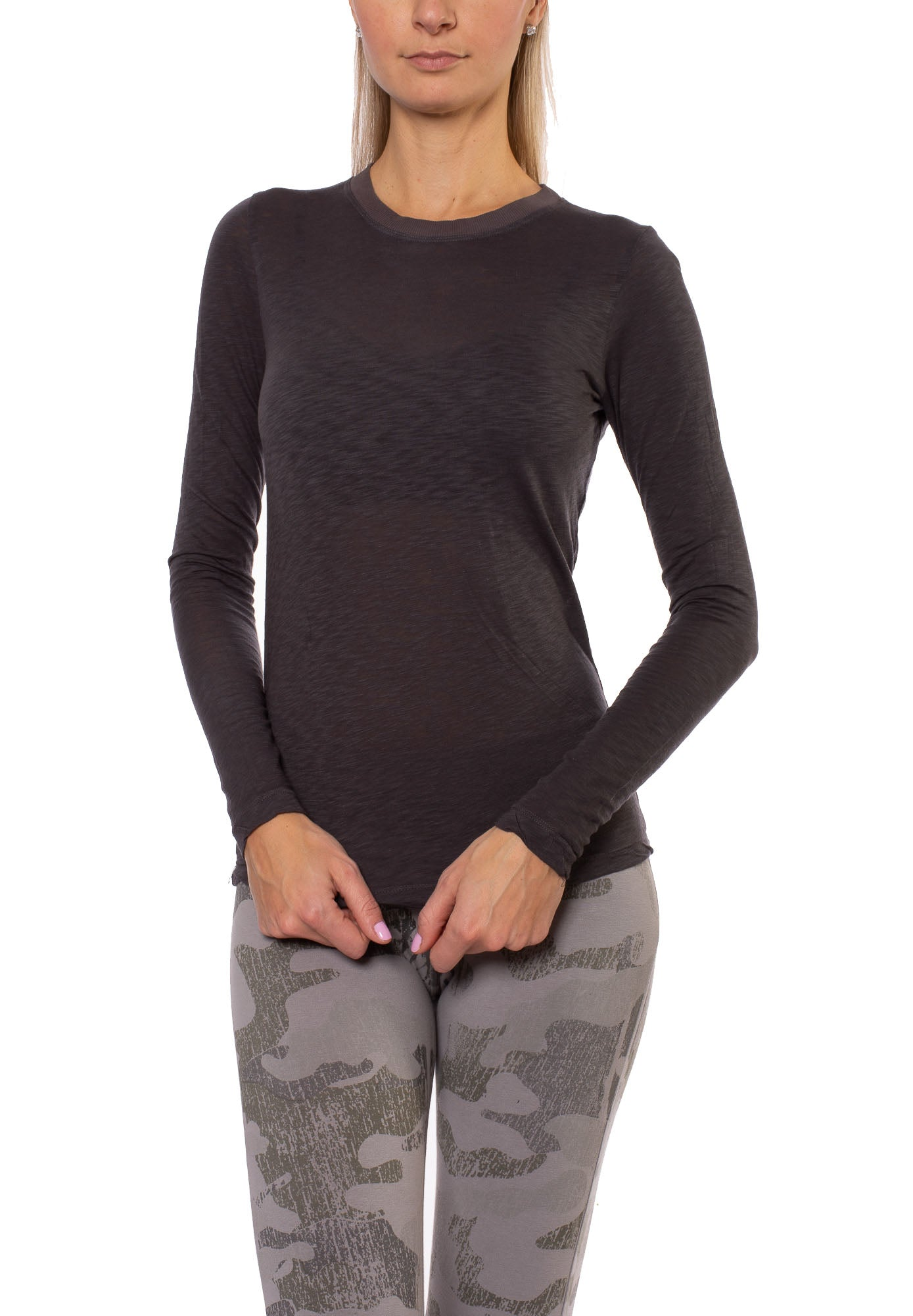 Slub Easy Long Sleeve Crew Neck (Style SLUB-35, Raven) by Hard Tail Forever