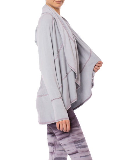 Hard Tail Forever - Swoop Fleece Jacket W/Thumbholes (CLO-13, Lavender) alt view 3