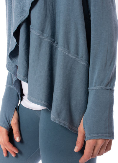Hard Tail Forever - Swoop Fleece Jacket W/Thumbholes (CLO-13, Moon) alt view 4