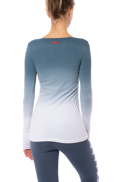 Hard Tail Forever - Supplex Lycra Long Sleeve Thumbhole Tee Shirt (SL-143, Ombre OMW6) alt view 2