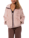 Mystree - Faux Fur Jacket w/Rose Gold Zipper (16351T, Blush)