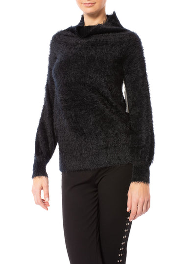 Tart Collections - Mock Nec Fuzzy Sweater (T80870, Black)