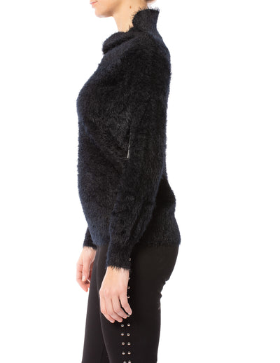 Tart Collections - Mock Nec Fuzzy Sweater (T80870, Black) alt view 1
