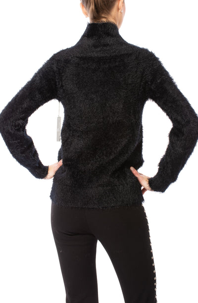 Tart Collections - Mock Nec Fuzzy Sweater (T80870, Black) alt view 2
