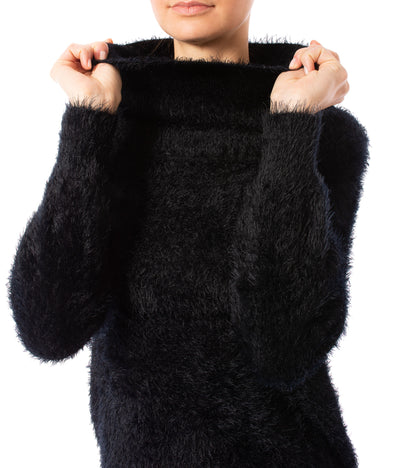 Tart Collections - Mock Nec Fuzzy Sweater (T80870, Black) alt view 5