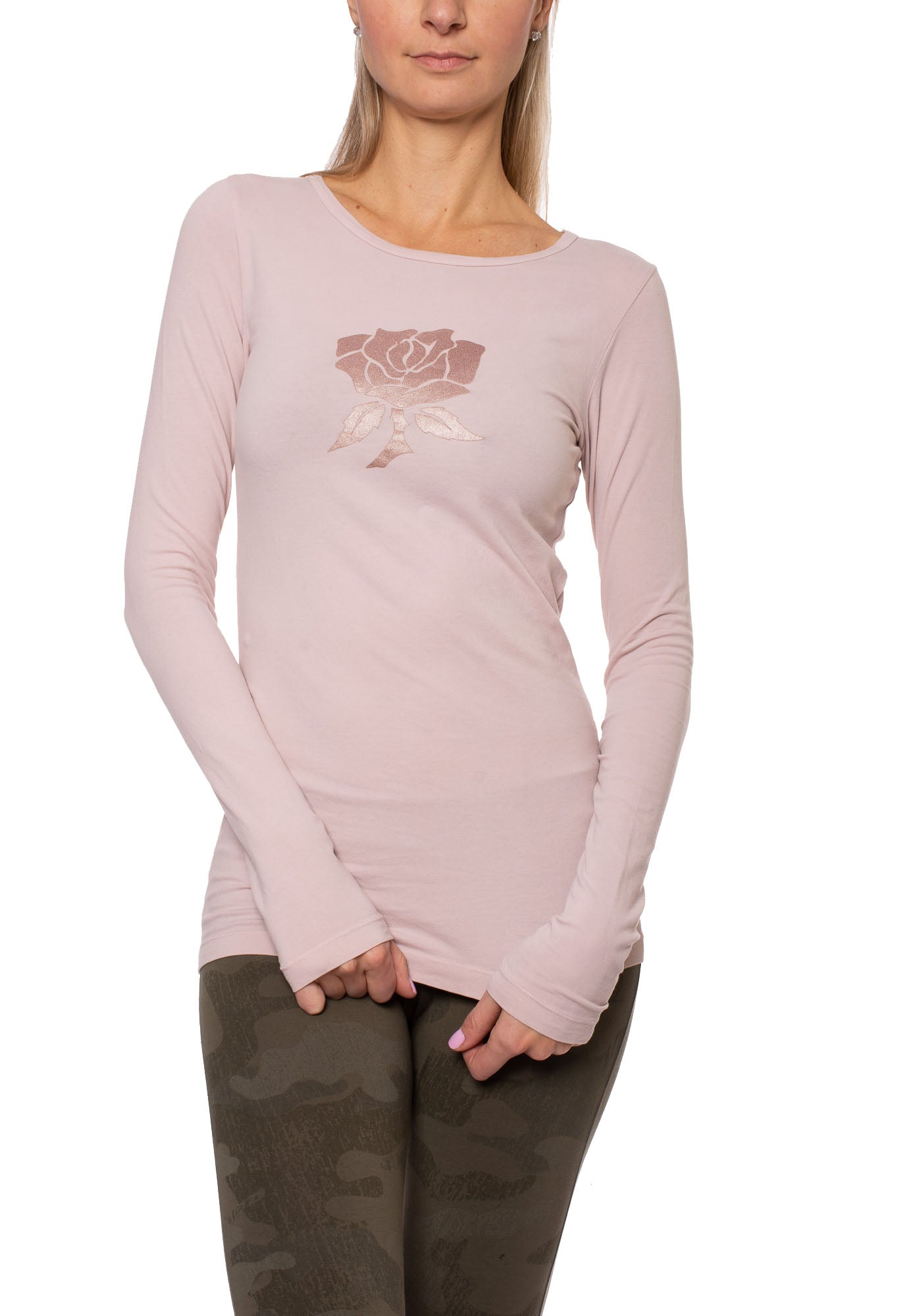 Supima/Lycra Long Sleeve Scoop Tee (Style SL-69-801, Rose w/Metalic Rose Gold Rose) by Hard Tail Forever