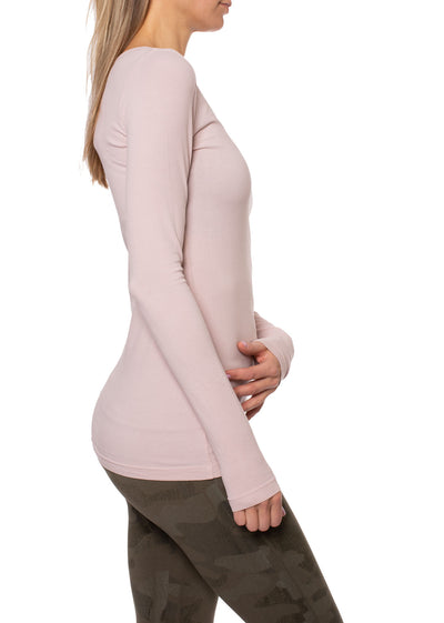 Supima/Lycra Long Sleeve Scoop Tee (Style SL-69-801, Rose w/Metalic Rose Gold Rose) by Hard Tail Forever alt view 1