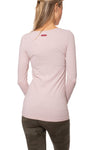 Supima/Lycra Long Sleeve Scoop Tee (Style SL-69-801, Rose w/Metalic Rose Gold Rose) by Hard Tail Forever alt view 2