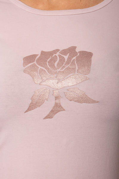 Supima/Lycra Long Sleeve Scoop Tee (Style SL-69-801, Rose w/Metalic Rose Gold Rose) by Hard Tail Forever alt view 3