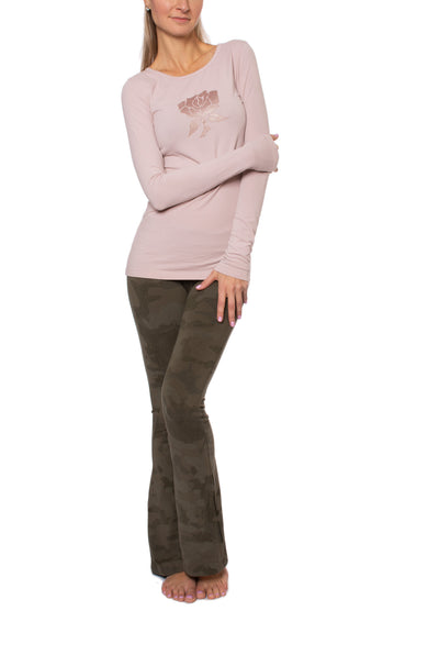 Supima/Lycra Long Sleeve Scoop Tee (Style SL-69-801, Rose w/Metalic Rose Gold Rose) by Hard Tail Forever alt view 6