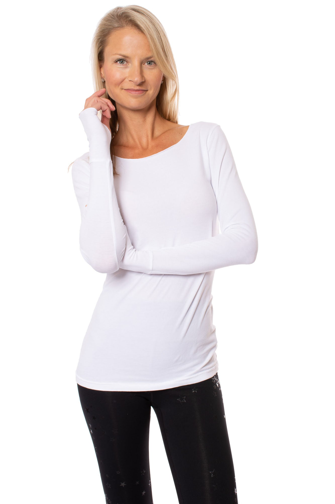 Hard Tail Forever - Cotton Lycra Long Sleeve Thumbhole (SL-143, White)