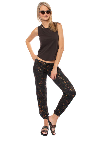 Hard Tail Forever - Slim Sweat Pants W/Copper Splatter (HEAT-35-SP3, Black w/Copper Splatter) alt view 1