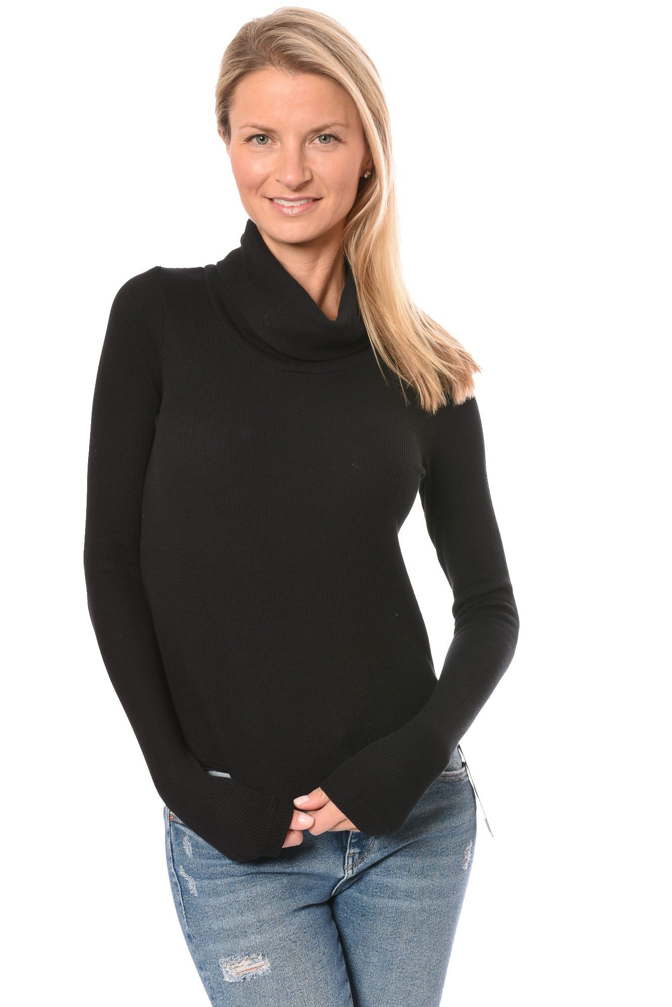 Hard Tail Forever - Long Sleeve Funnel Neck Thermal (TH-104, Black)