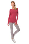 Hard Tail Forever - Long Sleeve Thumbhole w/Rose Gold Star (SL-143, Dragon Fruit) alt view 5