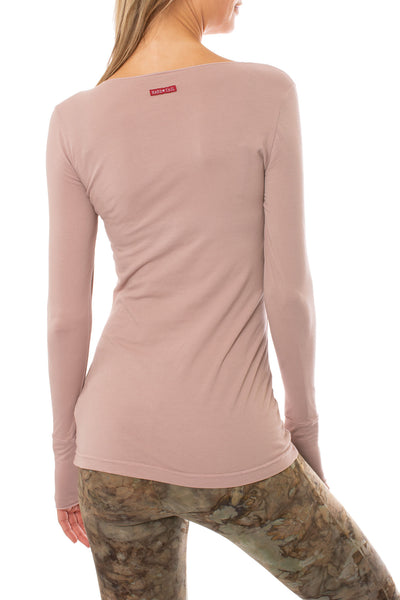 Hard Tail Forever - Supplex Lycra Long Sleeve Thumb-Hole Tee Shirt (SL-143, Mauve) alt view 2