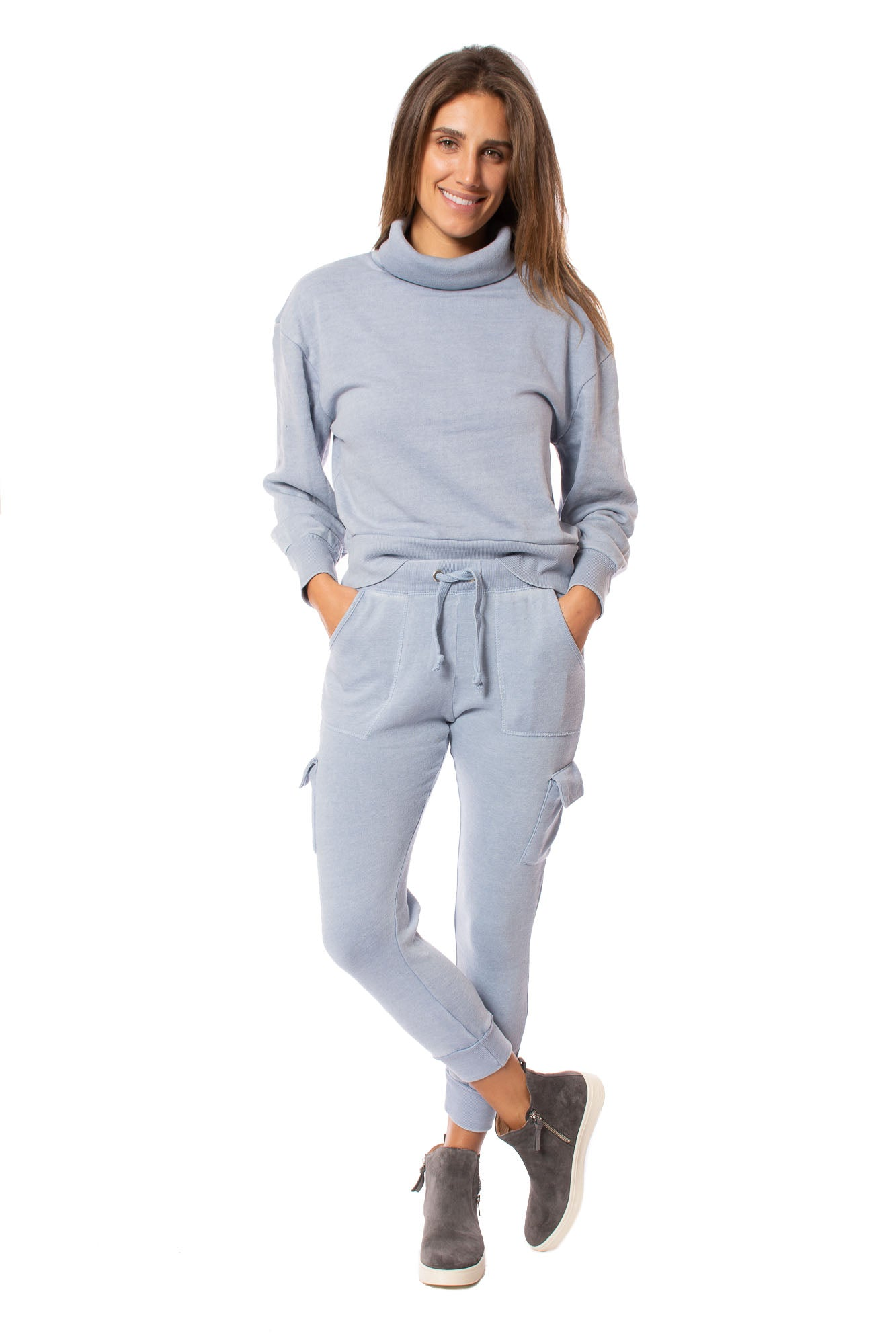 Burnout Drawstring Jogger (Style vh8864, Light Sky Blue) by Vintage Havana