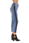Louie High Rise Straight Crop Jean w/Racer Stripe (Style DNX-1632, Denim w/Black Stripe) by Velvet Heart