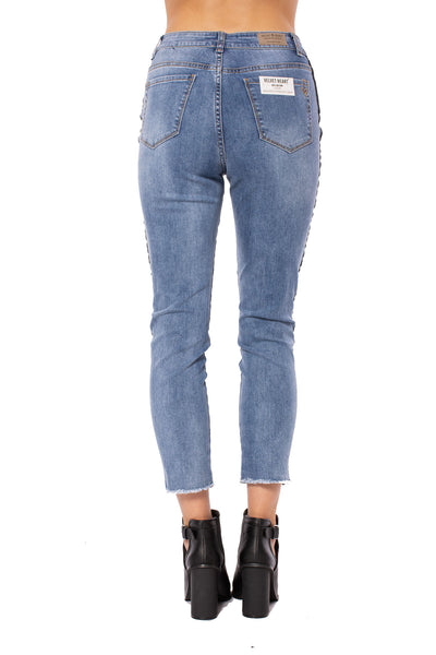 Louie High Rise Straight Crop Jean w/Racer Stripe (Style DNX-1632, Denim w/Black Stripe) by Velvet Heart alt view 1