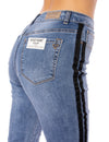 Louie High Rise Straight Crop Jean w/Racer Stripe (Style DNX-1632, Denim w/Black Stripe) by Velvet Heart alt view 2