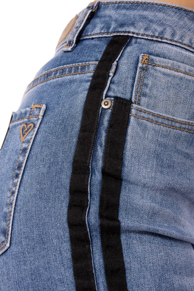 Louie High Rise Straight Crop Jean w/Racer Stripe (Style DNX-1632, Denim w/Black Stripe) by Velvet Heart alt view 3