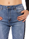 Louie High Rise Straight Crop Jean w/Racer Stripe (Style DNX-1632, Denim w/Black Stripe) by Velvet Heart alt view 4