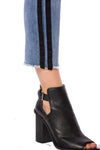Louie High Rise Straight Crop Jean w/Racer Stripe (Style DNX-1632, Denim w/Black Stripe) by Velvet Heart alt view 6
