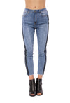 Louie High Rise Straight Crop Jean w/Racer Stripe (Style DNX-1632, Denim w/Black Stripe) by Velvet Heart alt view 7