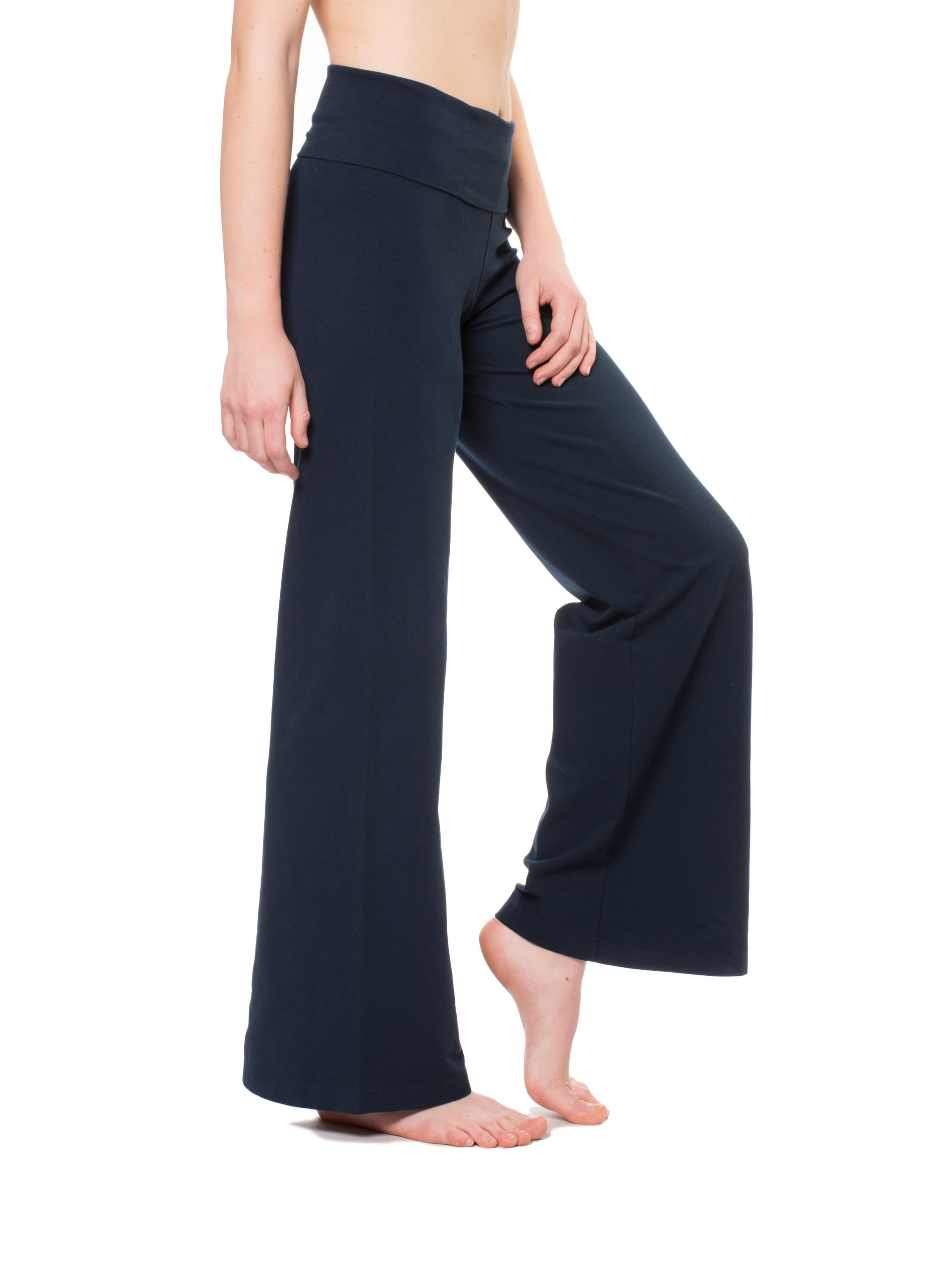 Wide Leg Roll Down Pants (Style W-326, Midnight Blue) by Hard Tail Forever