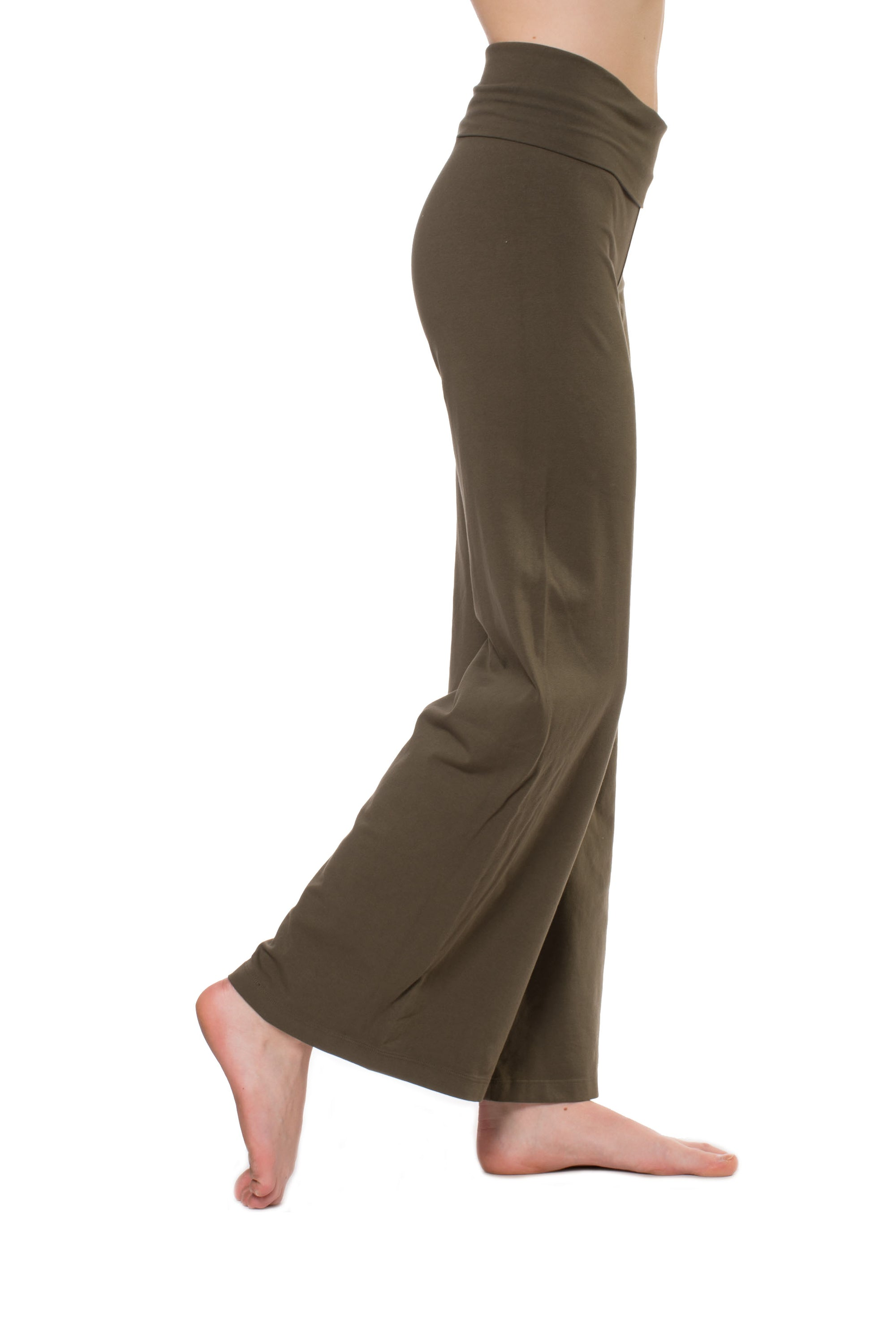 Wide Leg Roll Down Pants (Style W-326, Olive) by Hard Tail Forever