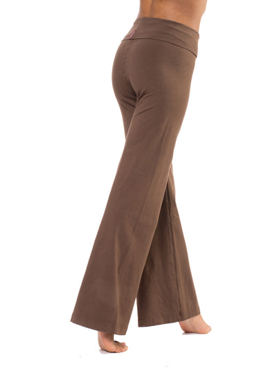 Wide Leg Roll Down Pants (Style W-326, Truffle) by Hard Tail Forever alt view 2