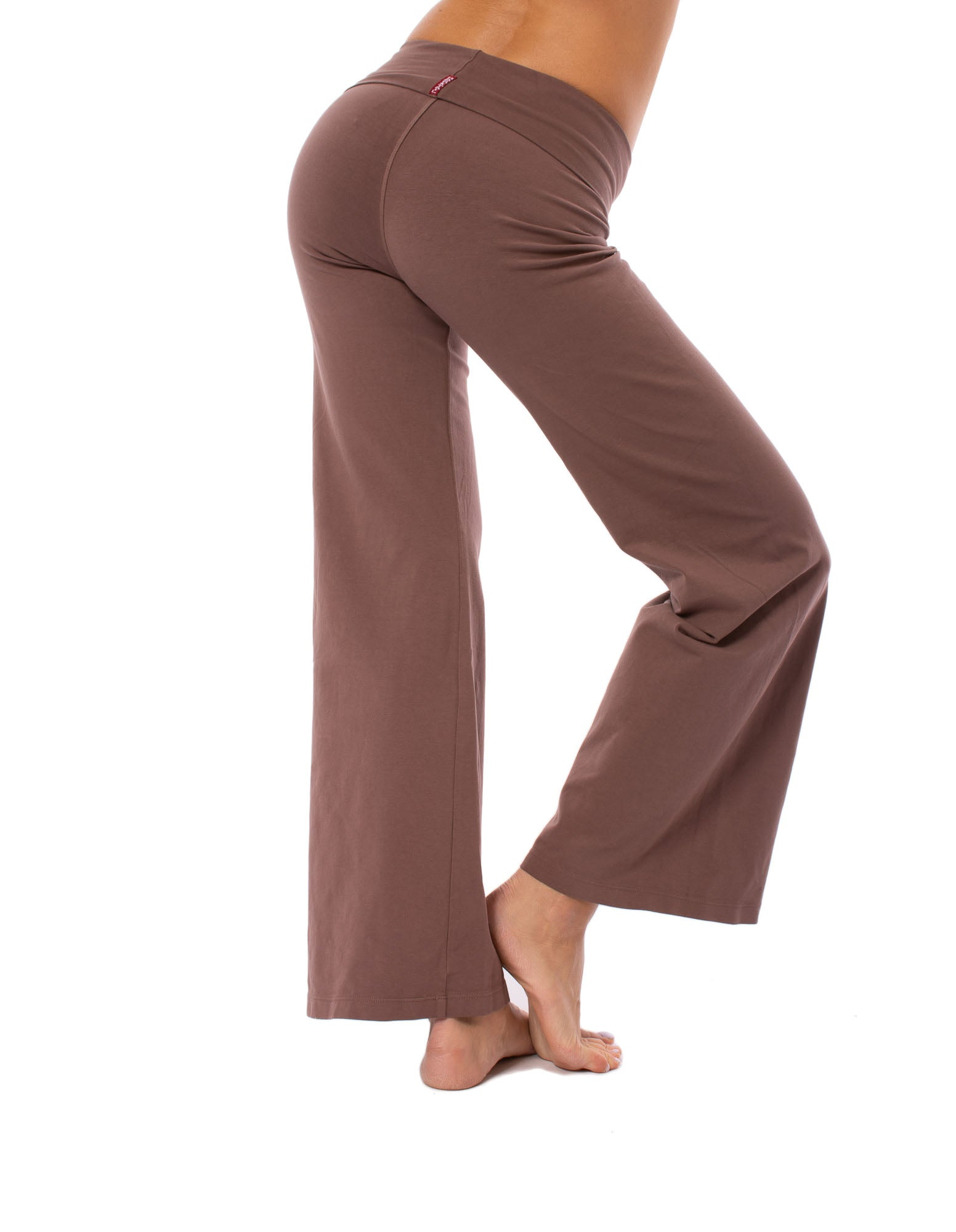 Wide Leg Roll Down Pants (Style W-326, Mocha) by Hard Tail Forever