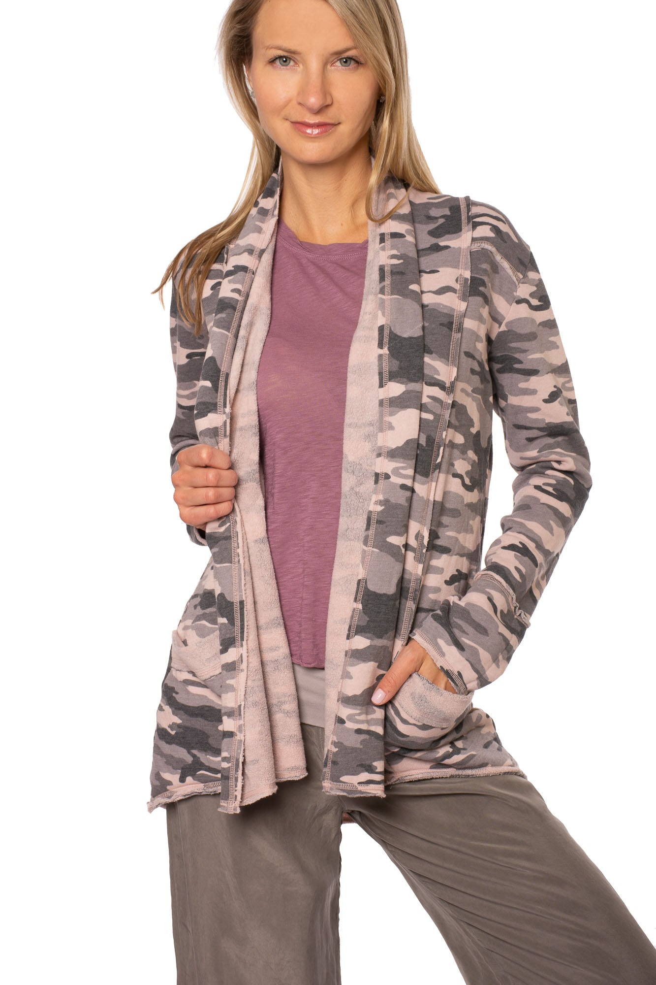 Hard Tail Forever - Camo Tri Blend Slouchy Cardigan (CAMF-06, Rose Camo)