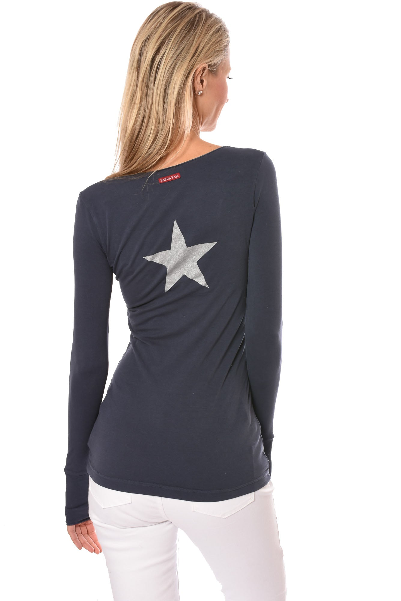 Hard Tail Forever - Long Sleeve Thumbhole w/Silver Star (SL-143-501B, Storm w/Silver Star)