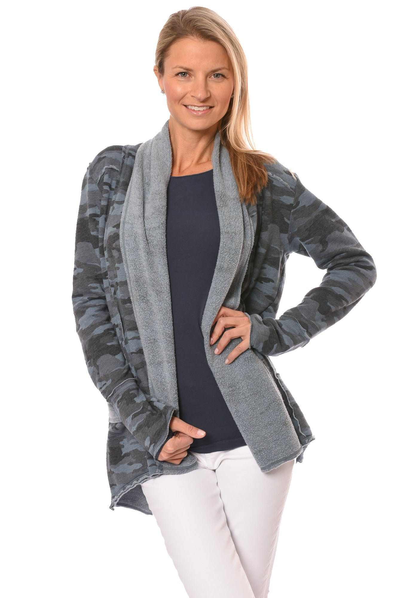 Hard Tail Forever - Tri Blend Slouchy Cardigan (CAMF-06, Camo Steel)